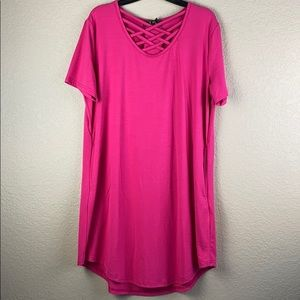short sleeve discos dress with pockets • size S